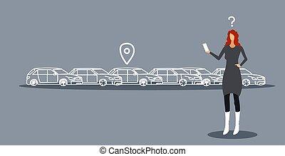 carsharing, croquis, tenue femme, service, mobile, auto, ligne, recherche, application, smartphone, loyer, concept, femme affaires, utilisation, horizontal, frustré, stationnement, griffonnage, voiture