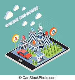 Carsharing Isometric Composition