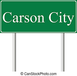 Carson City green road sign isolated on white background