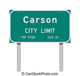 Vector illustration of the Carson City Limit green road sign