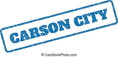 Blue rubber seal stamp with Carson City text. Vector caption inside rounded rectangular banner. Grunge design and dust texture for watermark labels. Inclined emblem on a white background.