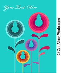 cartão, abstratos, flores, coloridos, folheia, ilustração, -1
