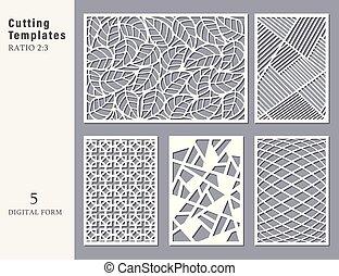 cartão, abstratos, jogo, geomã©´ricas, cutting., linear, ...
