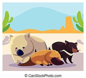 cartão, animais, australiano, paisagem
