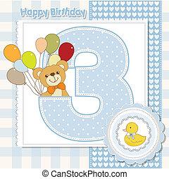 cartão, aniversário, aniversário, terceiro