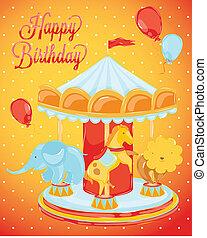 cartão aniversário, carrossel