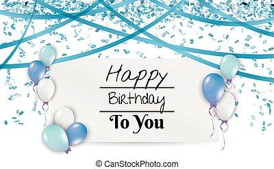 cartão aniversário, com, balões, e, fitas