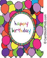 cartão aniversário, com, colorido, balões, border., vetorial, ilustração