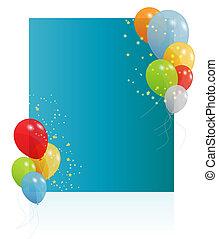 cartão aniversário, com, colorido, balões, vetorial, ilustração