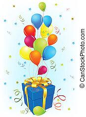 cartão aniversário, com, presente, e, balloon