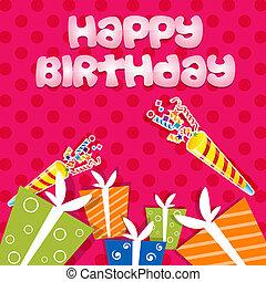 cartão aniversário, com, presentes