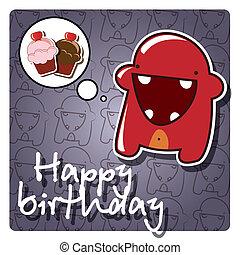 cartão aniversário, feliz
