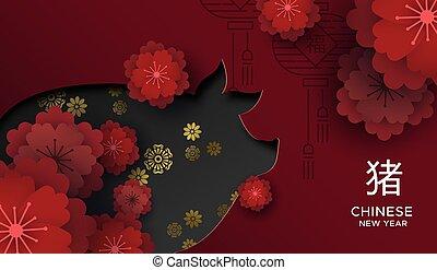 cartão, ano, papel, corte, novo, floral, 2019, chinês, porca