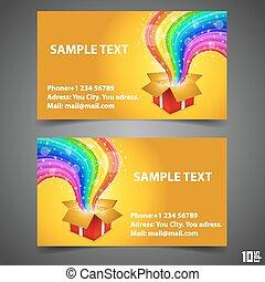 cartão, arco íris, abertos, presente, negócio