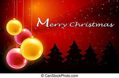 cartão, bolas, modelo, cintilante, natal