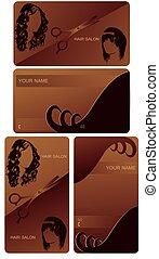 cartão, cabeleireiras