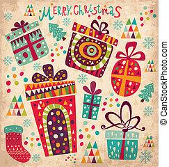 cartão, caixas, presente natal
