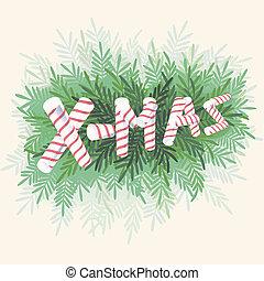 cartão, cana, natal, doce