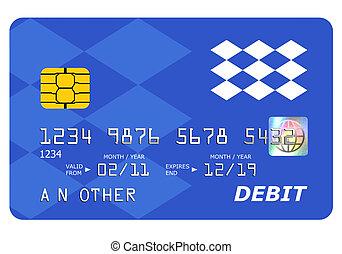 cartão, cima, isolado, banco, débito, escarneça, white.