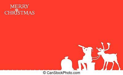 cartão, claus, -, natal, santa