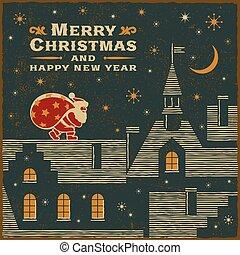 cartão, claus, santa, telhado, natal