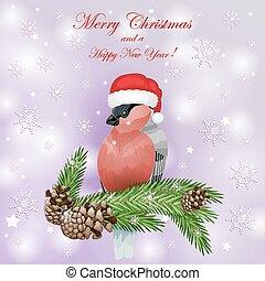 cartão, com, árvore abeto, e, bullfinch