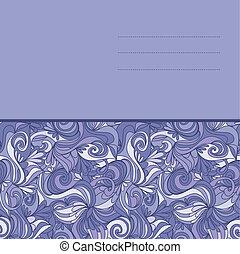 cartão, com, abstratos, hand-drawn, lilás, ondas, padrão