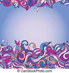 cartão, com, abstratos, hand-drawn, ondas, padrão