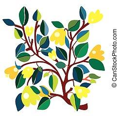 cartão, com, amarelo floresce, composição