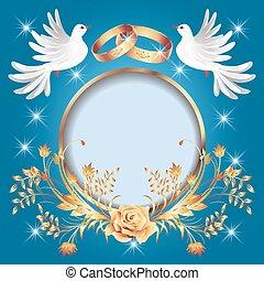 cartão, com, anéis casamento, dourado, quadro, e, dois, pombas