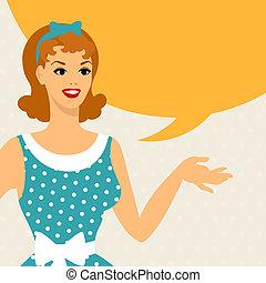 cartão, com, bonito, pino, menina, estilo 1950s, diz,...