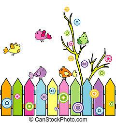 cartão, com, caricatura, pássaros, ligado, um, cerca