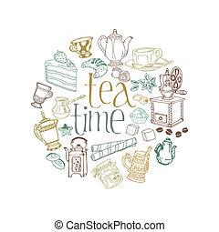 cartão, com, chá, e, café, doodles, em, vetorial
