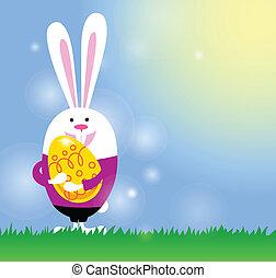 cartão, com, coelhinho, e, ovo páscoa
