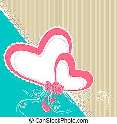 cartão, com, corações