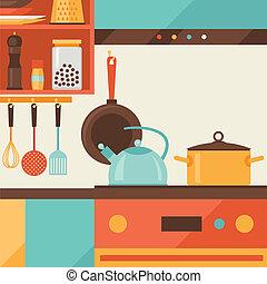 cartão, com, cozinha, interior, e, utensílios cozinhando,...