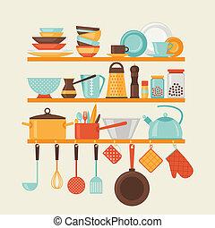 cartão, com, cozinha, prateleiras, e, utensílios cozinhando,...