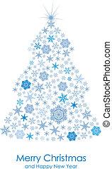cartão, com, decorativo, árvore abeto