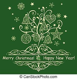 cartão, com, decorativo, árvore natal