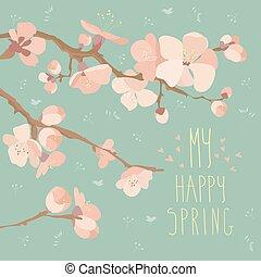 cartão, com, flores mola, ligado, filial árvore