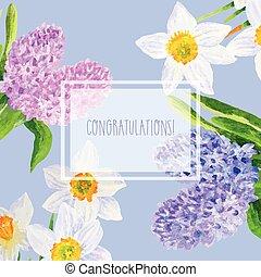 cartão, com, flores mola