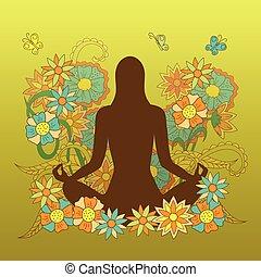 cartão, com, menina, silueta, em, ioga, pose lotus, ligado,...