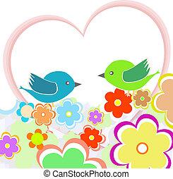 cartão, com, pássaros, ligado, coração vermelho, entre, flores