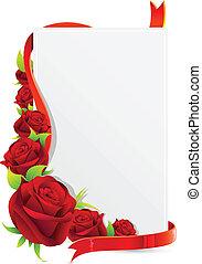 cartão, com, rosa