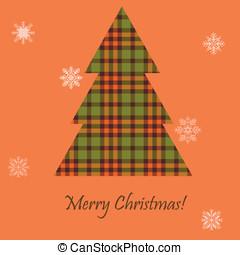 cartão, com, um, escocês, árvore