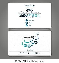 cartão, construção casa, manutenção, negócio