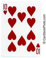 cartão, corações, -, tocando, dez