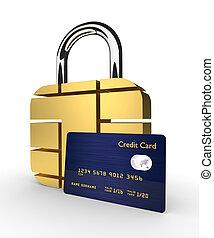 cartão crédito, com, sim, padlock, isolado, sobre, fundo branco