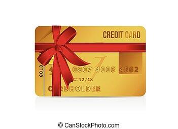 cartão, crédito, desenho, presente, ilustração