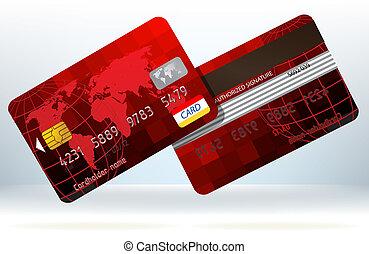 cartão crédito, frente, e, costas, vista., eps, 8
